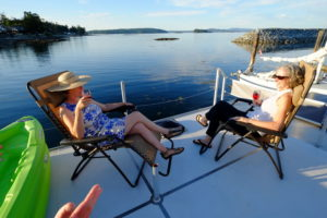 Sundowners on the upper deck of the SeaSuite
